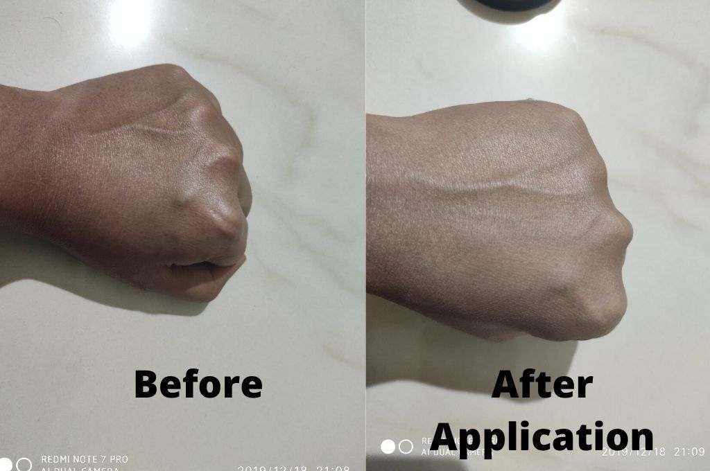 before and after application of mebelline fit me compact