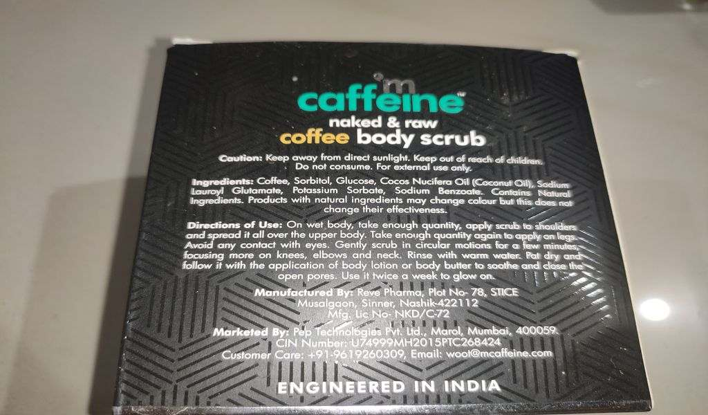 Ingredients of M-caffeine Coffee body scrub
