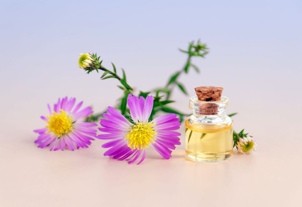 argan oil bottle with flower